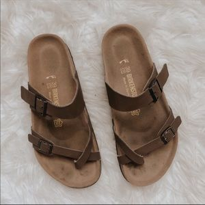 Brown Birkenstock Inspired Strappy Sandals